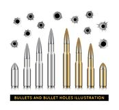 Bullets and bullet holes. Vector illustration. On white background Stock Photography