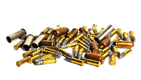 Bullets and Bullet Shells. Many of Bullets and Bullet Shells on white background Royalty Free Stock Images