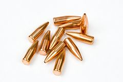 Bullets cal .30. Bullets ready for reloading. Cal. .30 (7,62mm) Hollow point, boat tail type Stock Photos