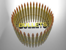 Bullets circular pattern background. 3D rendered illustration of multiple bullets arranged in a circular pattern. The composition is placed over a reflective Royalty Free Stock Photography