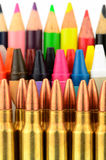 Bullets and Crayons Stock Photography