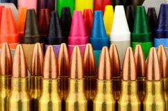 Bullets and Crayons Royalty Free Stock Photography