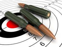 Bullets. 3d render of bullets on target backgroind Stock Photography