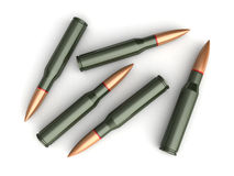 Bullets. 3d render of bullets on white backgroind Stock Photos
