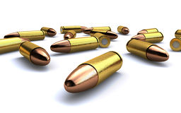 Bullets. 3d render of bullets on the white background Royalty Free Stock Images