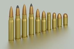 Bullets. 3D rendering of the bullets Royalty Free Stock Photo
