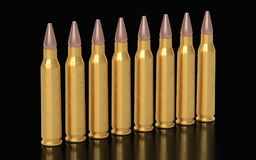 Bullets on the dark background. 3D rendering Royalty Free Stock Photo