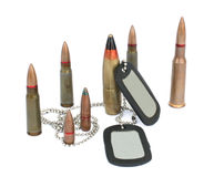 Bullets with dogtags. Bullets with identity military Dog Tags isolated on white background Stock Images