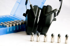 Bullets and ear protection Royalty Free Stock Photography