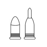 Bullets figure for military weapons, icon image Royalty Free Stock Photo