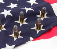 Bullets and Flag. Bullets on an American flag Stock Photography