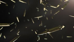 Bullets flight. High quality super slow motion bullets flight in dark space