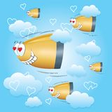 Bullets flying to the heart through clouds. Bullets in love flying to the heart through clouds. Valentines day card. Blue background with hearts and clouds. Red Stock Illustration