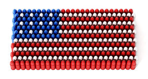 Bullets forming an American flag. 3D illustration.  Royalty Free Stock Photography