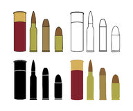 Bullets game set. Shotgun, rifle, pistol Royalty Free Stock Images