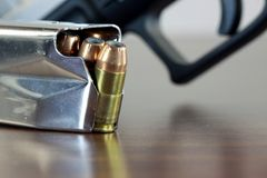 Bullets with gun clip - Gun rights concept Stock Photos