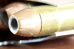 Bullets with gun clip - Gun rights concept Royalty Free Stock Images