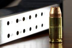 Bullets with gun clip - Gun rights concept Royalty Free Stock Photo