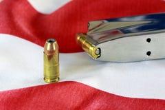 Bullets with gun clip - Gun rights concept Stock Photography