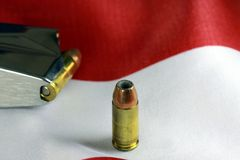Bullets with gun clip - Gun rights concept Stock Image