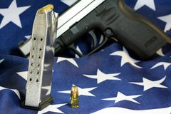 Bullets with gun clip - Gun rights concept Royalty Free Stock Photography