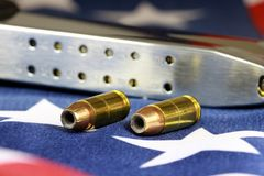 Bullets with gun clip - Gun rights concept Royalty Free Stock Image