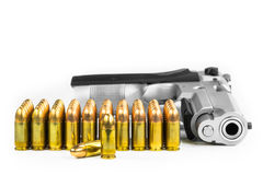 Bullets with the gun Royalty Free Stock Photos
