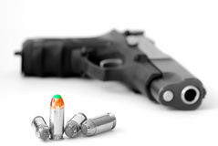 Bullets and Gun for Military or Self Defense Royalty Free Stock Image