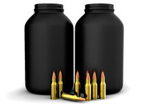 Bullets with gun powder, ammo, ammunition Stock Image