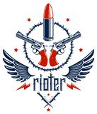 Bullets and guns vector emblem of Revolution and War, logo or tattoo with lots of different design elements, anarchy and chaos. Concept, criminal and gangster stock illustration