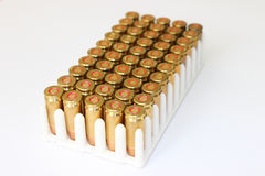 Bullets for hand gun. Photography of bullets in plastic holder, caliber 9mm for hand gun pistol.Close up view Stock Photography