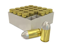 Bullets in holder. Group of bullets in holder on white background Stock Image