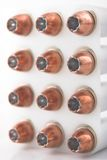 Bullets in holder. Pistol bullets in a cartridge holder Stock Photo