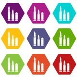 Bullets icon set color hexahedron. Bullets icon set many color hexahedron isolated on white vector illustration Royalty Free Stock Images