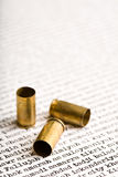 Bullets on Iraqi cities. Bullet shells over list of major Iraqi cities Royalty Free Stock Image