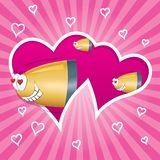 Bullets in love flying through the heart. Valentines day card. Pink background with hearts and lines. Two hearts cutted out from background Vector Illustration