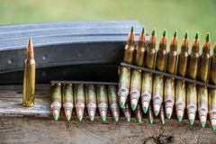 Bullets & magazines. 5.56 rounds and magazines stock image