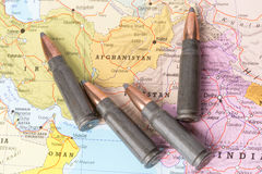 Bullets on the map of Afghanistan Royalty Free Stock Photography