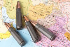 Bullets on the map of Afghanistan Royalty Free Stock Photo