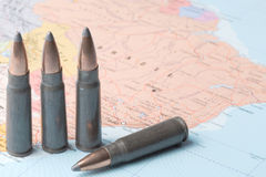 Bullets on the map of Brazil Stock Photos
