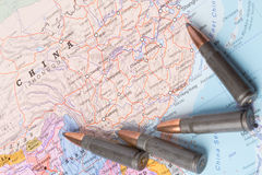 Bullets on the map of China Stock Photo