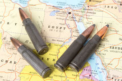 Bullets on the map of Egypt. Four bullets on the geographical map of Egypt. Conceptual image for war, conflict, violence royalty free stock photography