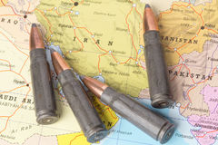 Bullets on the map of Iran Royalty Free Stock Images