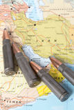 Bullets on the map of Iran Stock Photo