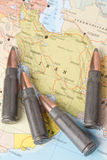 Bullets on the map of Iran Royalty Free Stock Image