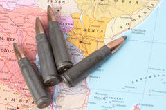 Bullets on the map of Kenya Royalty Free Stock Photography