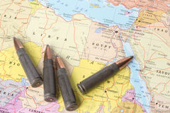 Bullets on the map of Libya and Egypt Stock Photos