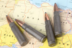 Bullets on the map of Libya Stock Photography
