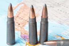 Bullets on the map of Mexico. Four bullets on the geographical map of Mexico. Conceptual image for war, conflict, violence royalty free stock image