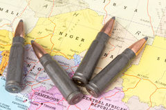 Bullets on the map of Niger Royalty Free Stock Images